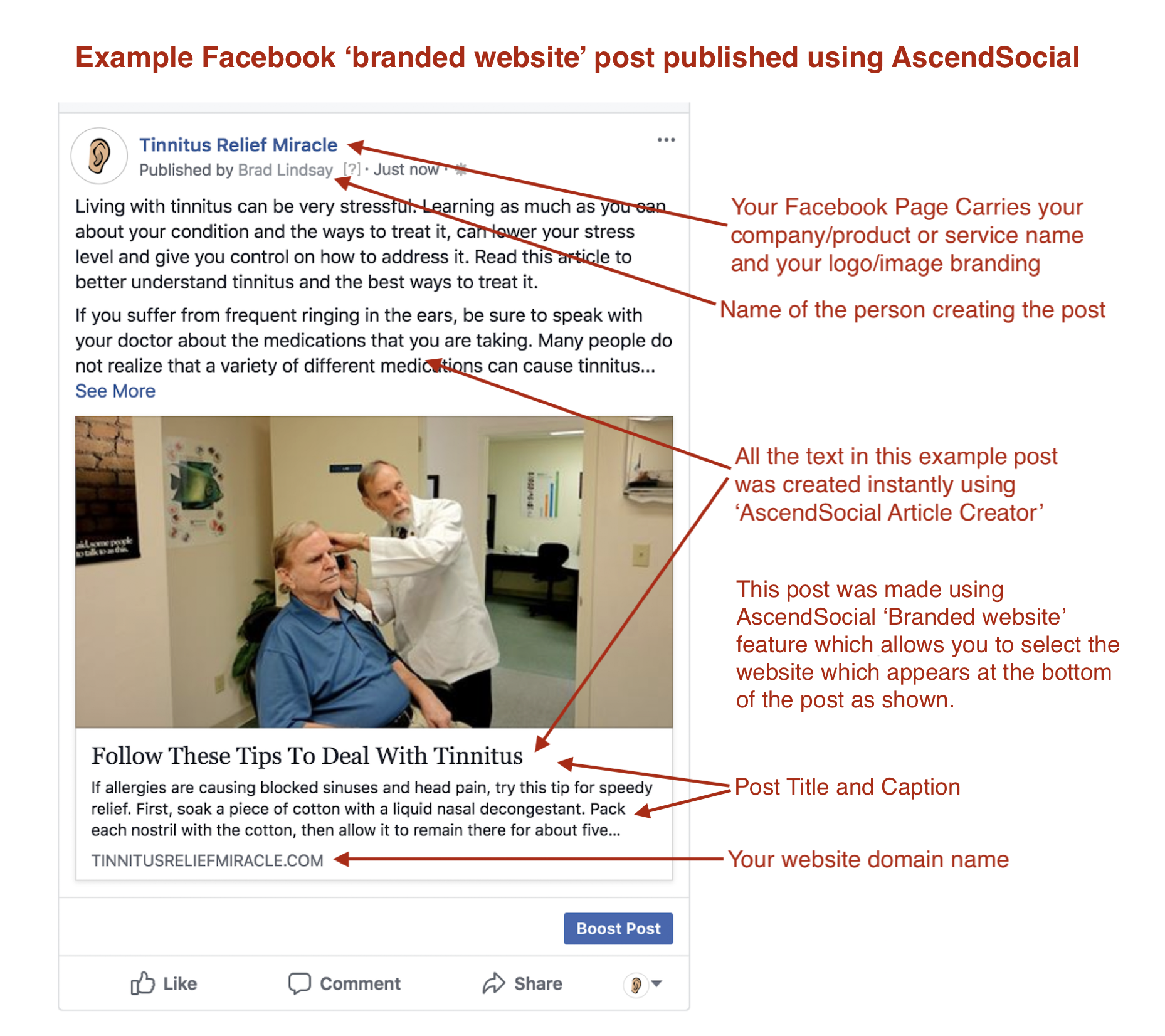 AscendSocial Facebook Branded Website Posting Example