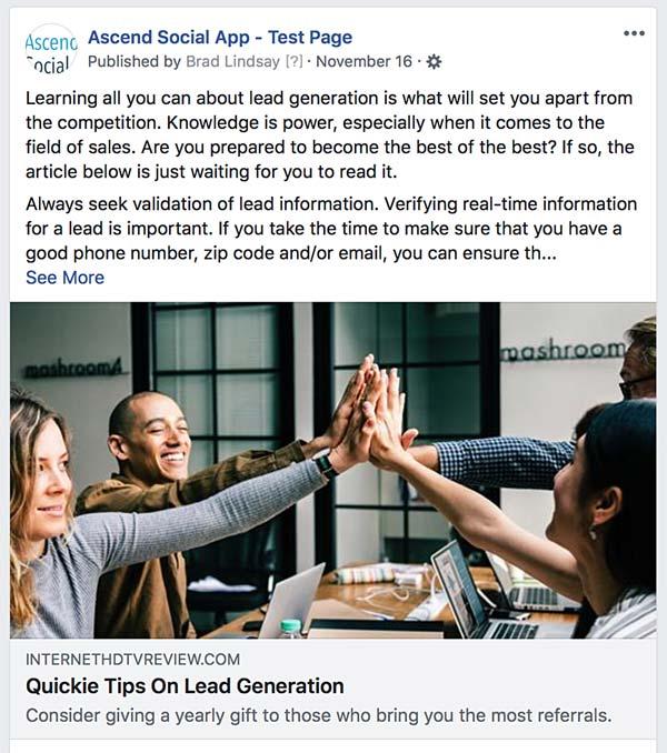Facebook Branded Post